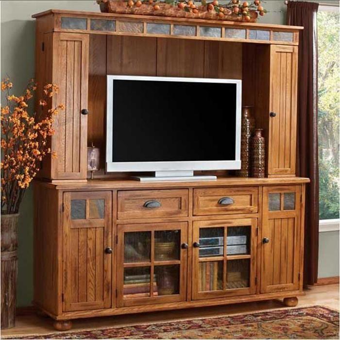 "Sedona 72"" Entertainment Center in Rustic Oak | Nebraska Furniture Mart"