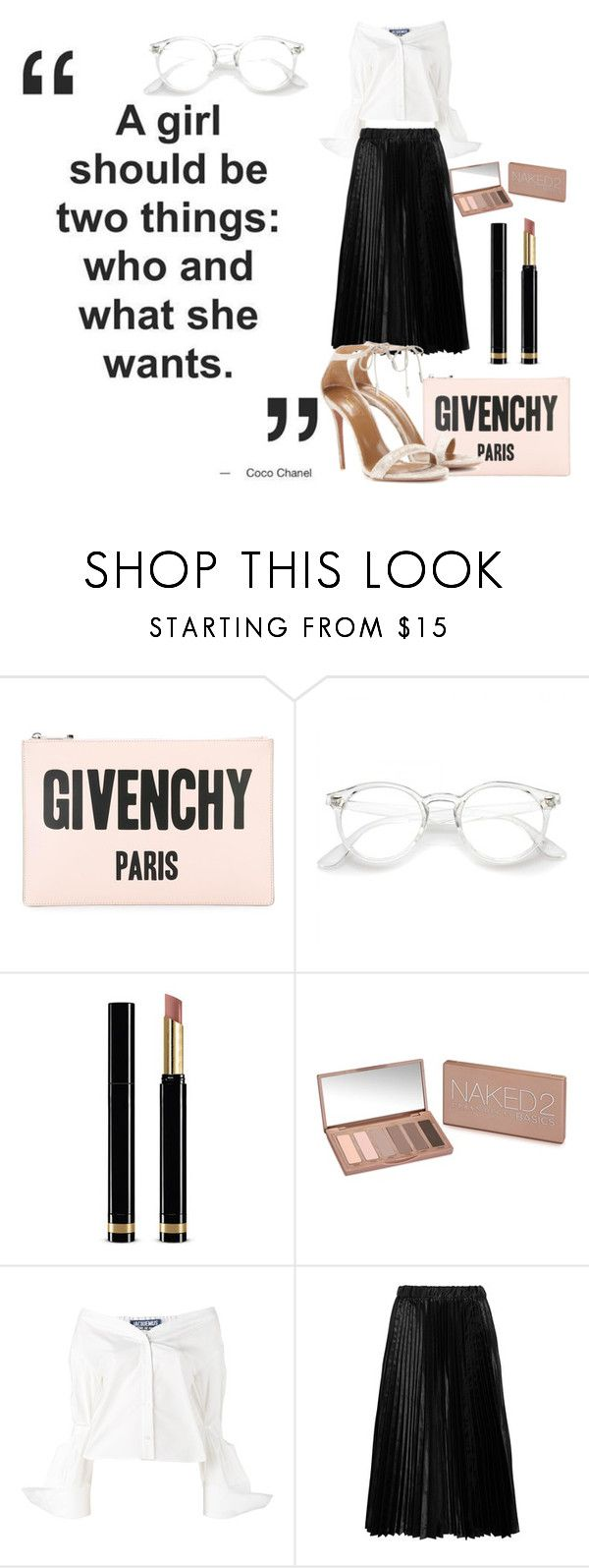 """""""Work work work ~"""" by nikivl ❤ liked on Polyvore featuring Givenchy, Gucci, Urban Decay, Jacquemus, Comme des Garçons GIRL and Aquazzura"""