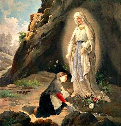 February 11 marks the first apparition of the Blessed Virgin Mary in 1858  to St. Bernadette Soubirous. Be… | Lady of lourdes, Our lady of lourdes,  Catholic pictures