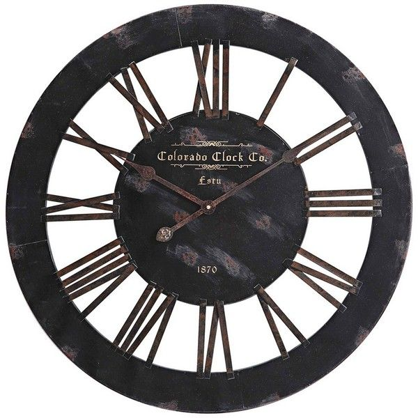 Cooper Classics Elko 26 1 2 Wide Black Wall Clock 158 Liked On Polyvore Featuring Home Home Decor Cloc Black Wall Clock Oversized Wall Clock Wall Clock