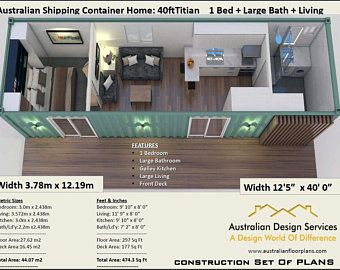 3 x Shipping Containers = 2 Bedroom Home Full Construction House Plans
