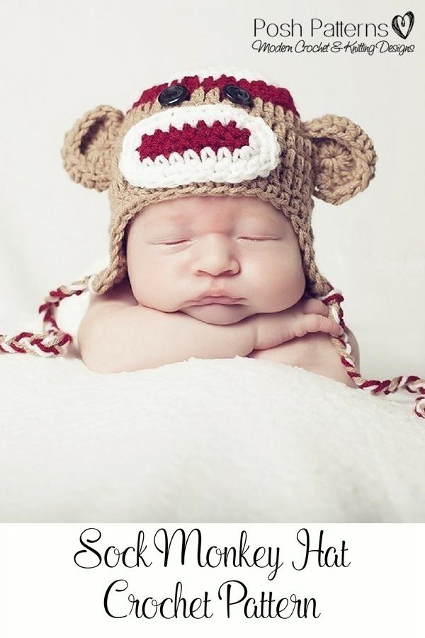 Crochet Pattern Crochet Sock Monkey Hat Pattern Crochet Sock