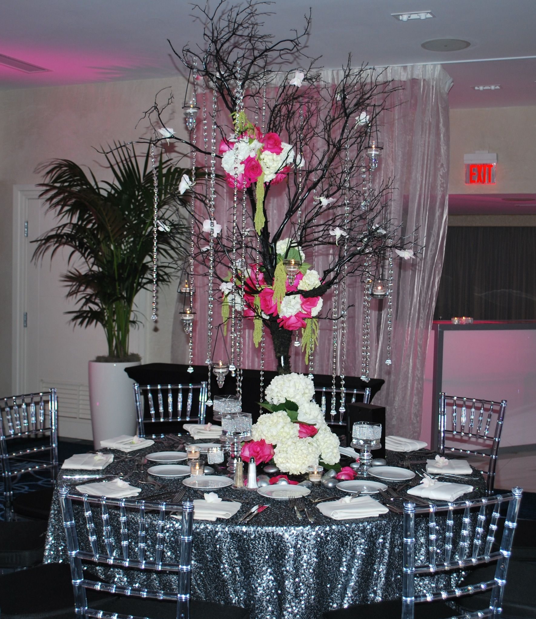bat mitzvah event decor hot pink, black & silver color scheme