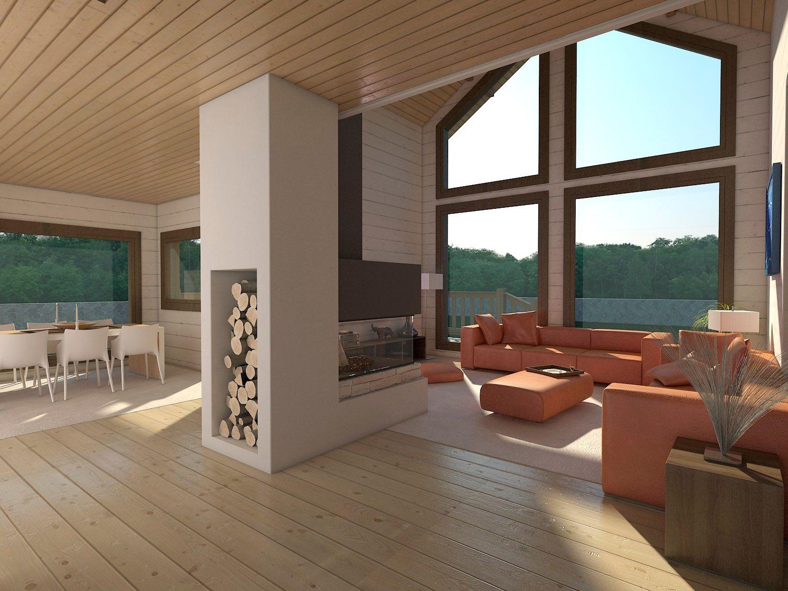 Interior casa de madera pino n rdico maderas v v - Casas de madera de pino ...