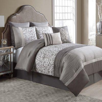 Arcadia 8 Piece Queen Comforter Set In Taupe Ivory Comforter Sets Ruched Bedding Queen Comforter Sets