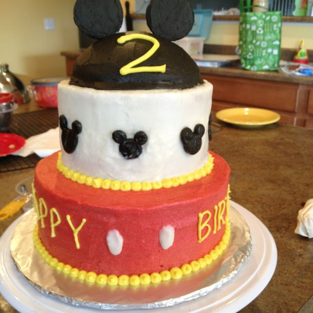 Mickey Mouse Birthday Cake Buttercream Icing Sweets Made By Me