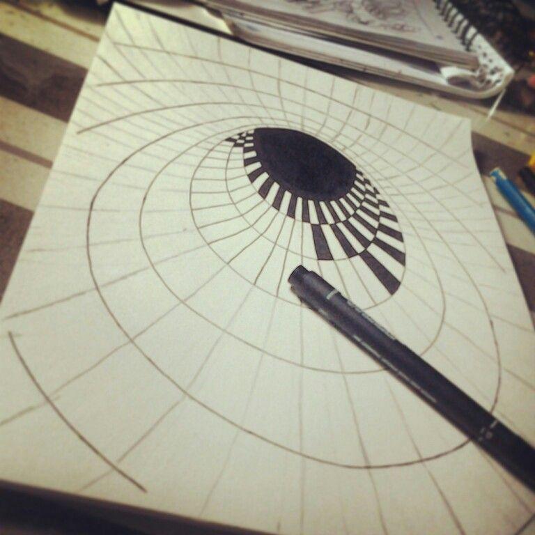 Drawing 3d Hole Illusion 03 Art De L Illusion Op Art Art Optique