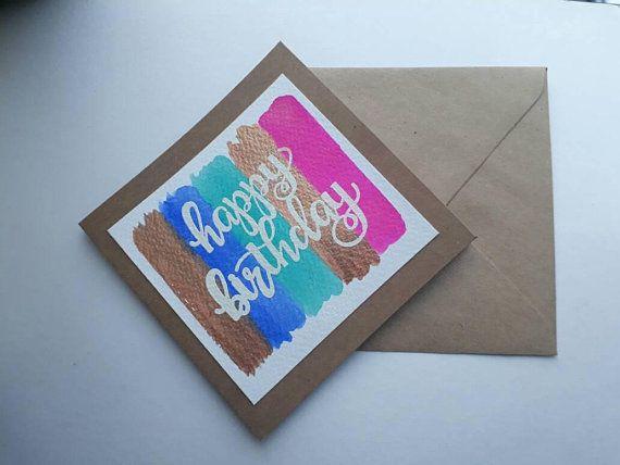Unique Birthday Cards For Him ~ Unique happy birthday card handmade watercolour card card for him