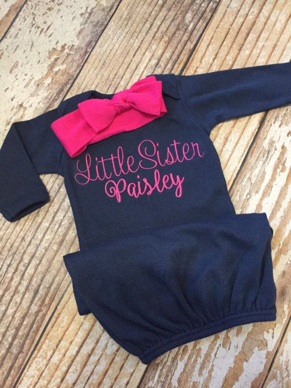 7831b7610658 Little sister outfit Monogrammed gown and knot by skkilby21 | Baby ...