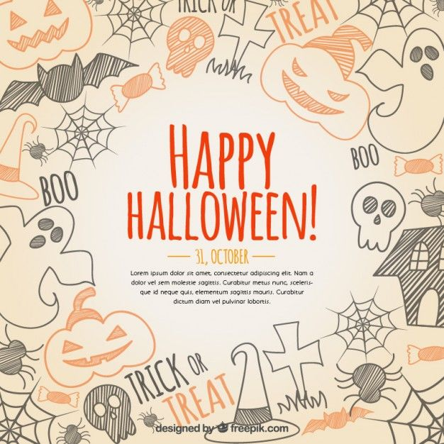 Perfect Hand Drawn Happy Halloween Background Free Vector