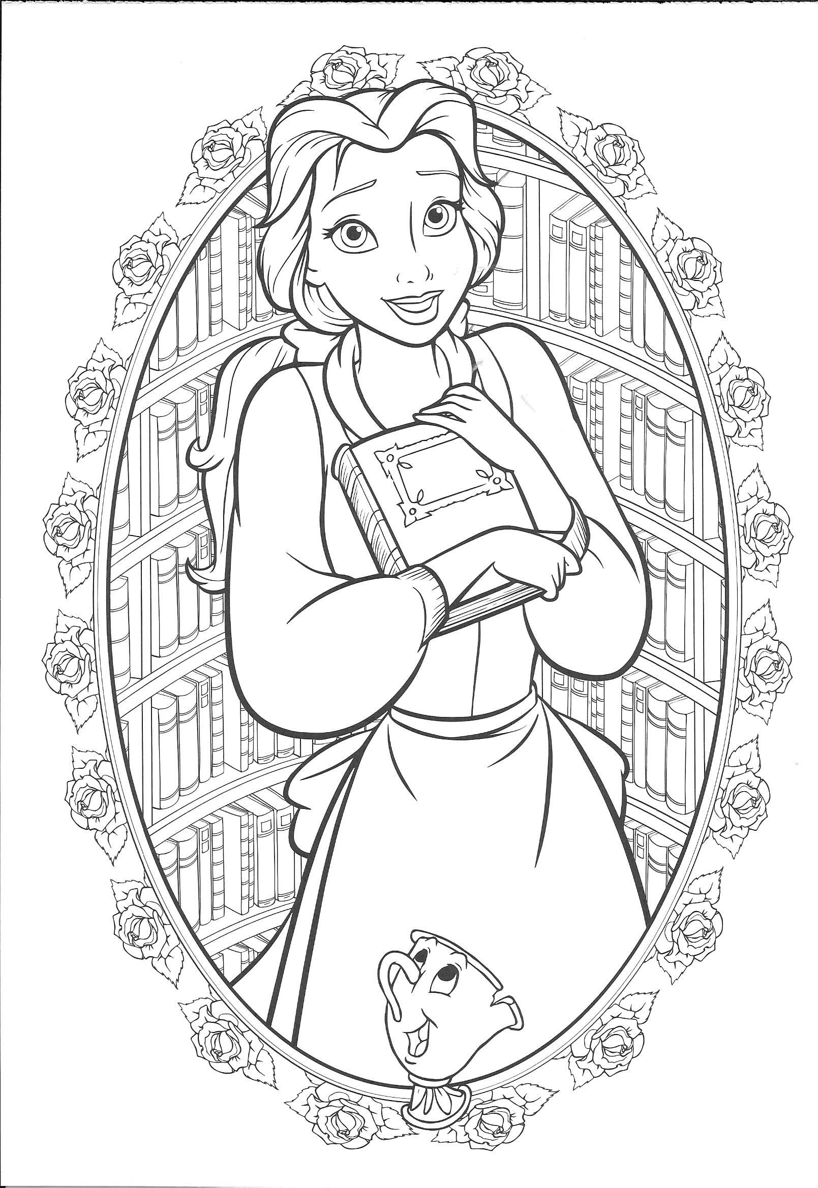 Belle, the bookworm :)  Disney coloring pages, Belle coloring