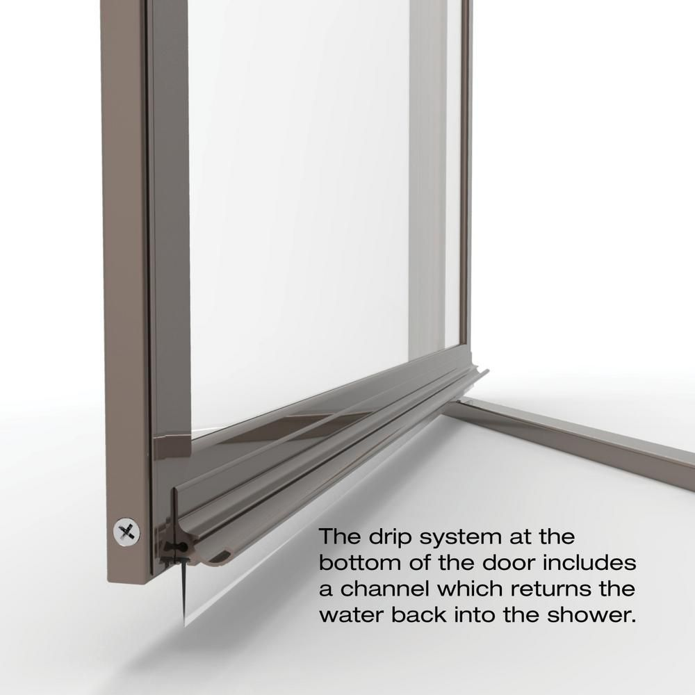 Basco Sopora 34 7 8 In X 63 1 2 In Framed Pivot Shower Door In Oil Rubbed Bronze With Clear Glass Sopn00a3463clor The Home Depot Shower Doors Glass Shower Doors Clear Glass