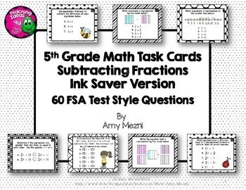 Subtracting Fractions 60 Task Cards 5th Grade FSA Style
