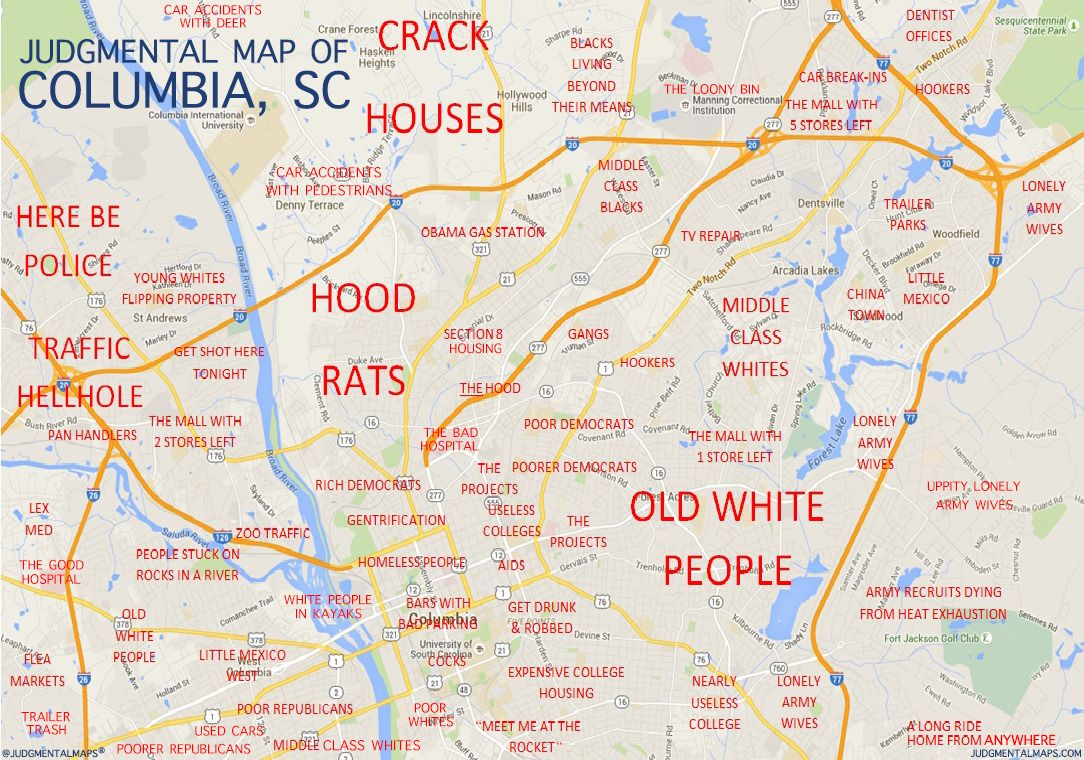 Columbia SC By Anonymous Copr  Judgmental Maps All Rights - Chicago judgemental map