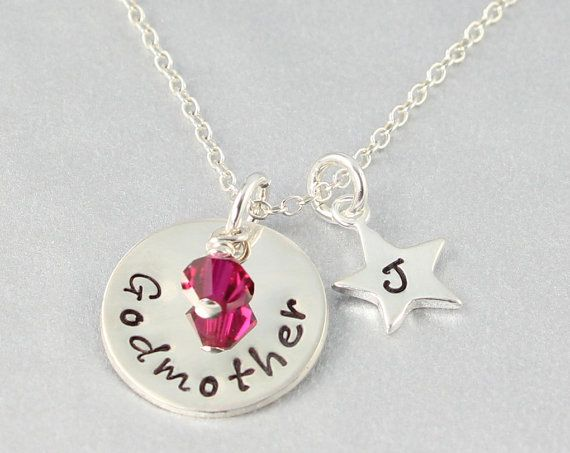 Gift For Goddaughter Birthstone Necklace Sterling By: Godmother Necklace With Initial And Birthstone