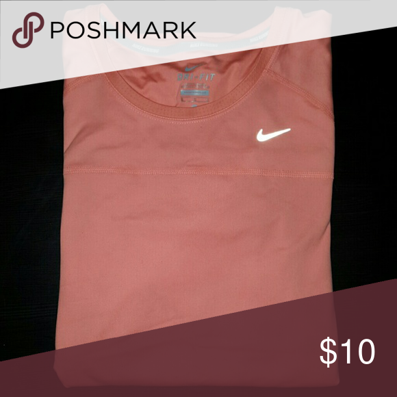 Nike Dri-Fit Running Miller Top coral color, drifit, running top, still like new Nike Tops Tees - Short Sleeve