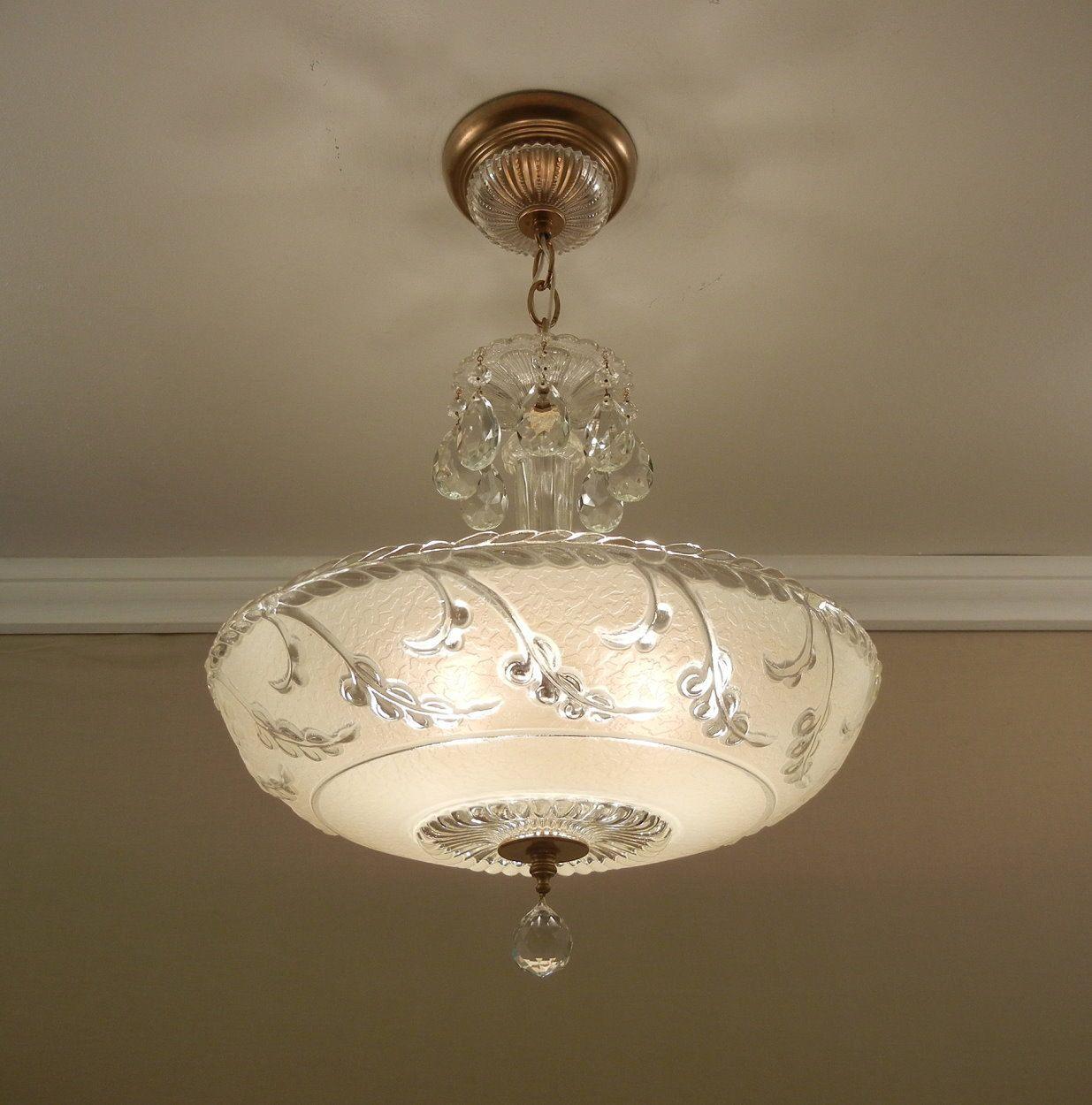 Vintage chandelier 1930s antique nouveau style cream pressed glass ceiling light fixture rewired