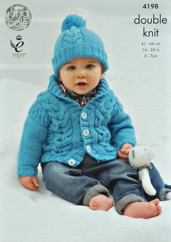 294c5ac26 Baby Knitting Pattern K4198 Baby s Long Sleeve Roll Collar Cable ...