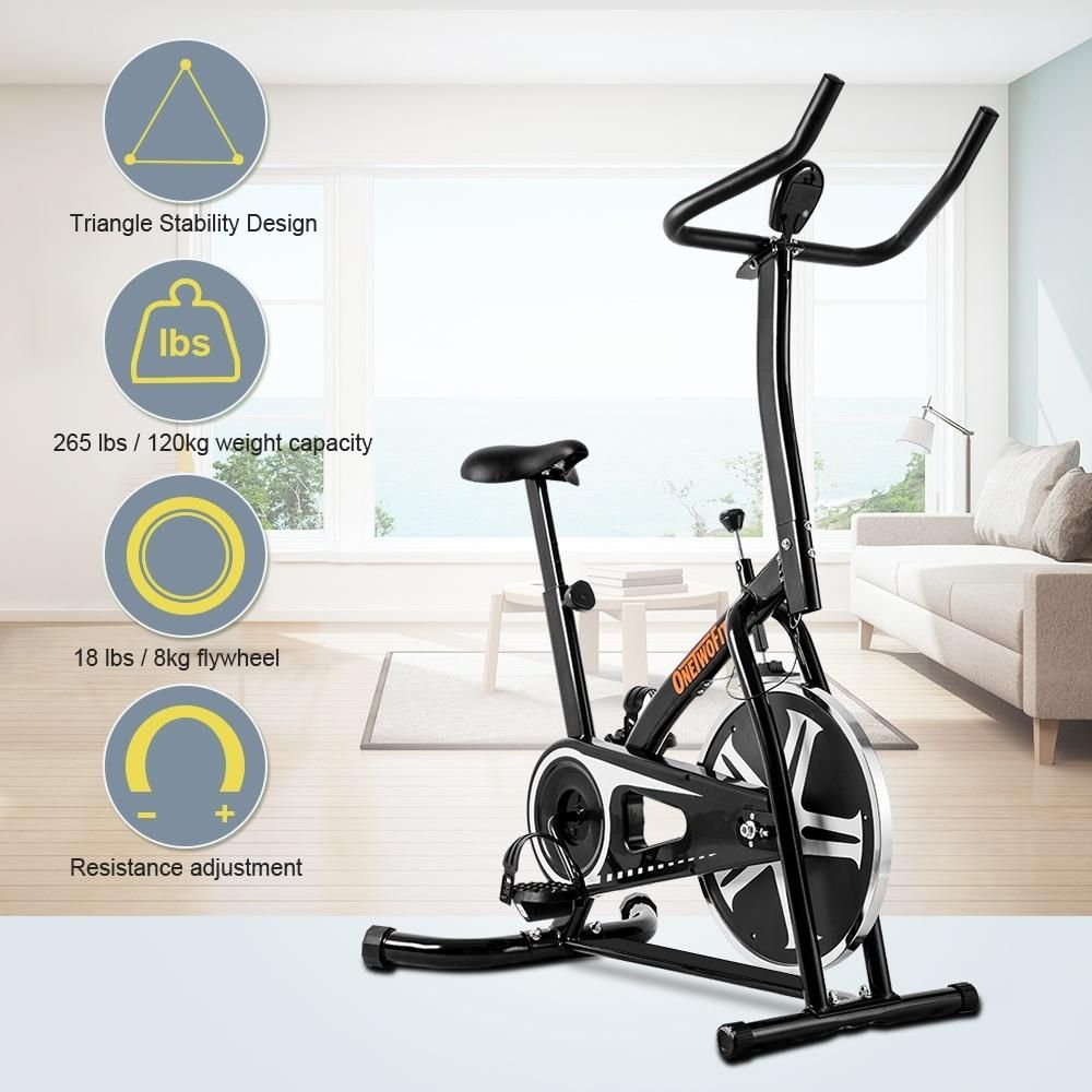 Indoor Chain Driven Workout Bike With Height Adjustable Seat And