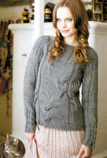 Серый пуловер спицами с косами.. Обсуждение на LiveInternet - Российский Сервис Онлайн-Дневников