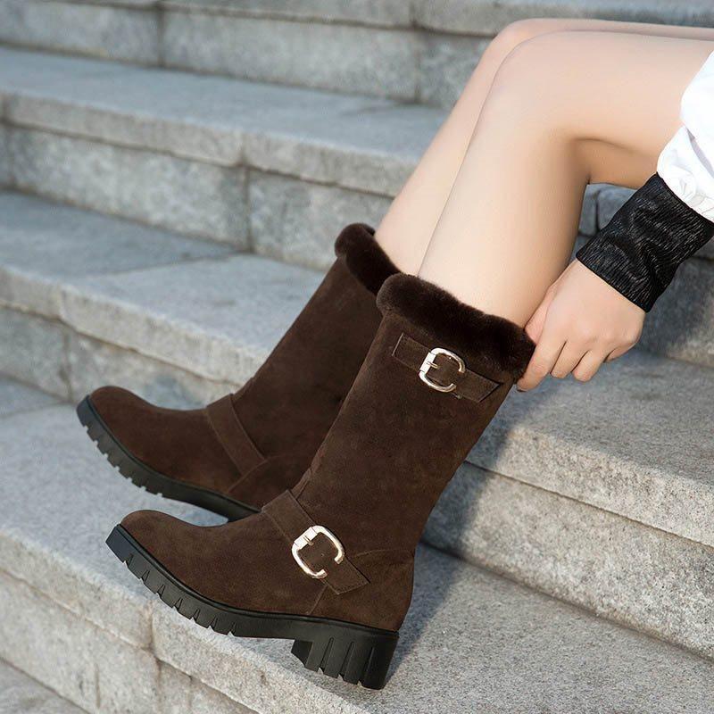 7e1c4350d122 BLOCK HEEL ROUND TOE PLAIN SLIP-ON SHORT FLOSS BUCKLE BOOTS  Snow Boots  Women s  Boots  Leatrend