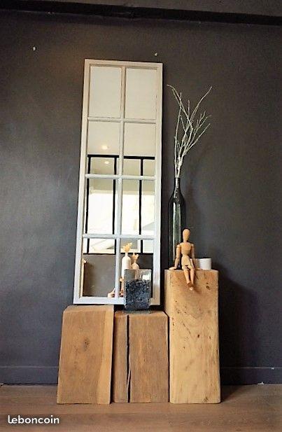 Beau miroir fabriqué à partir d\u0027un montant de fenêtre en bois patiné - Peinture Porte Et Fenetre