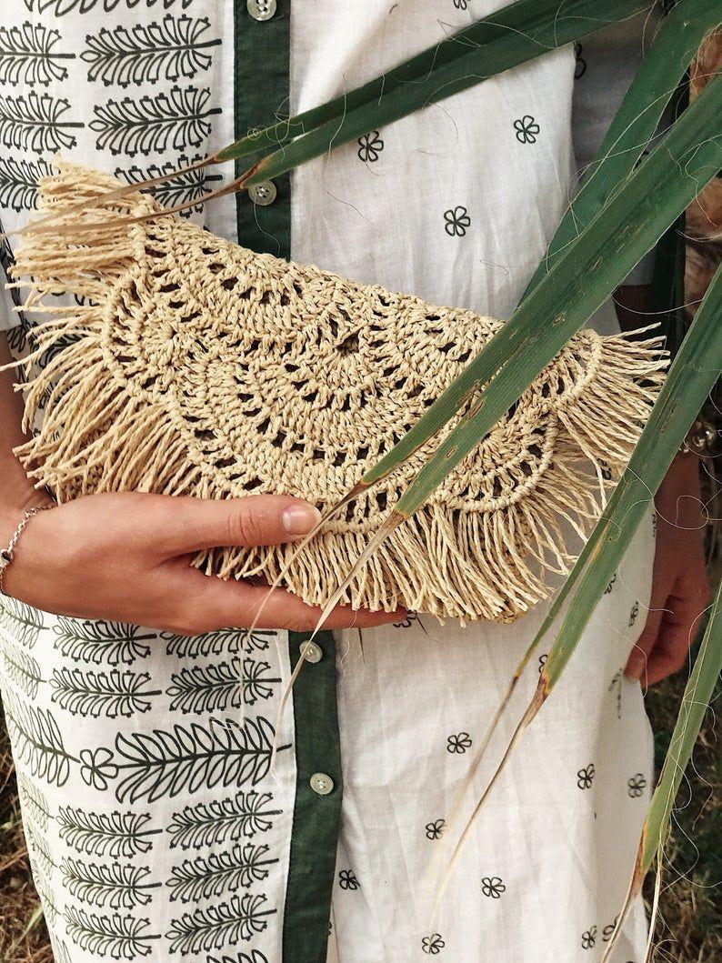 Photo of Natural Raffia Clutch, Tassel Clutch – Fold Over Design, Straw Beach Bag, Bridesmaid Clutch, Raffia