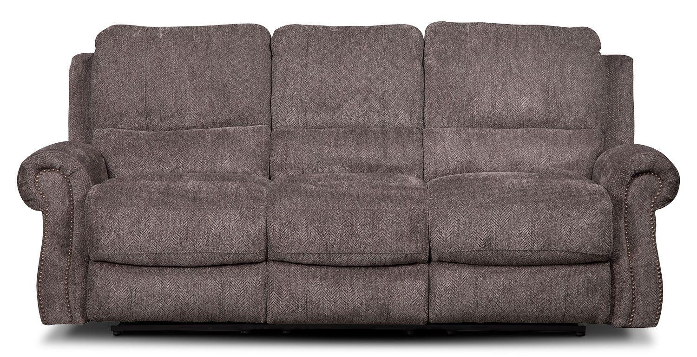 Magnum Chenille Reclining Sofa Grey The Brick