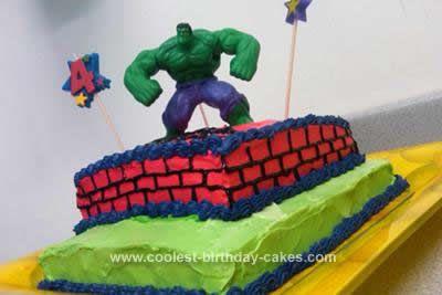 Cool 2Tier Homemade Incredible Hulk Cake Hulk cakes Wilton icing