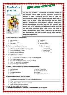 An ESL reading exercise about food in a supermarket - ESL worksheet of the day on April 20, 2015 by Pury.