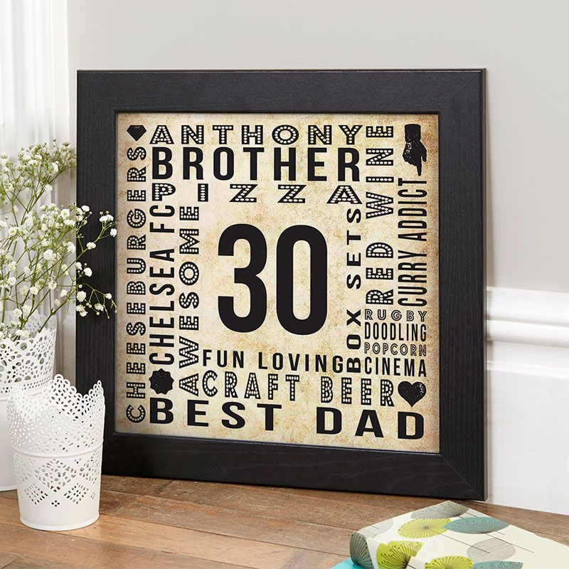 30th Birthday Gift for Him of Personalised Age Square