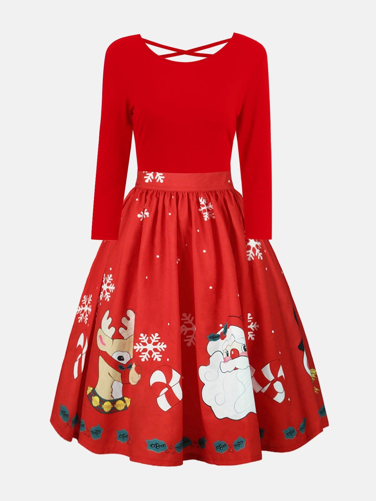 e70edfcf0c Plus Size Christmas Criss Cross Print Dress   Merry Christmas ...