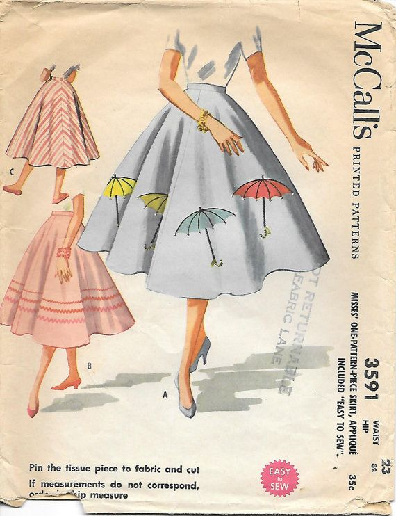 McCalls 3591 - 1950s Circle Skirt with Applique Sewing Pattern ...