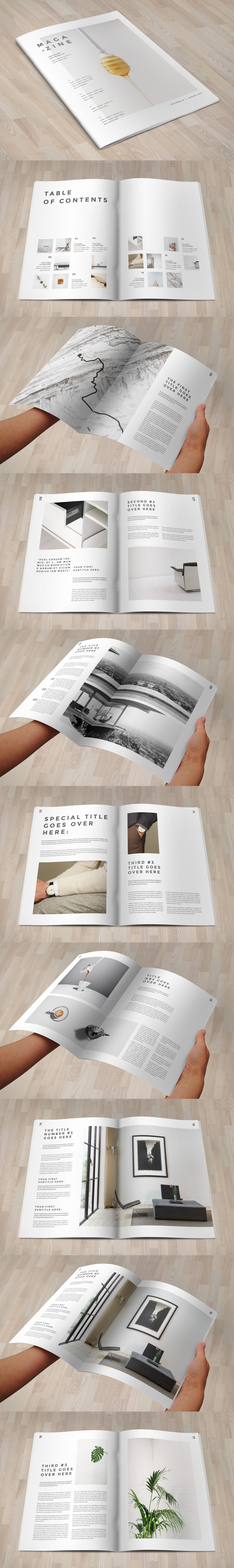 Minimal Cool White Magazine 20 Pages Template Indesign Indd