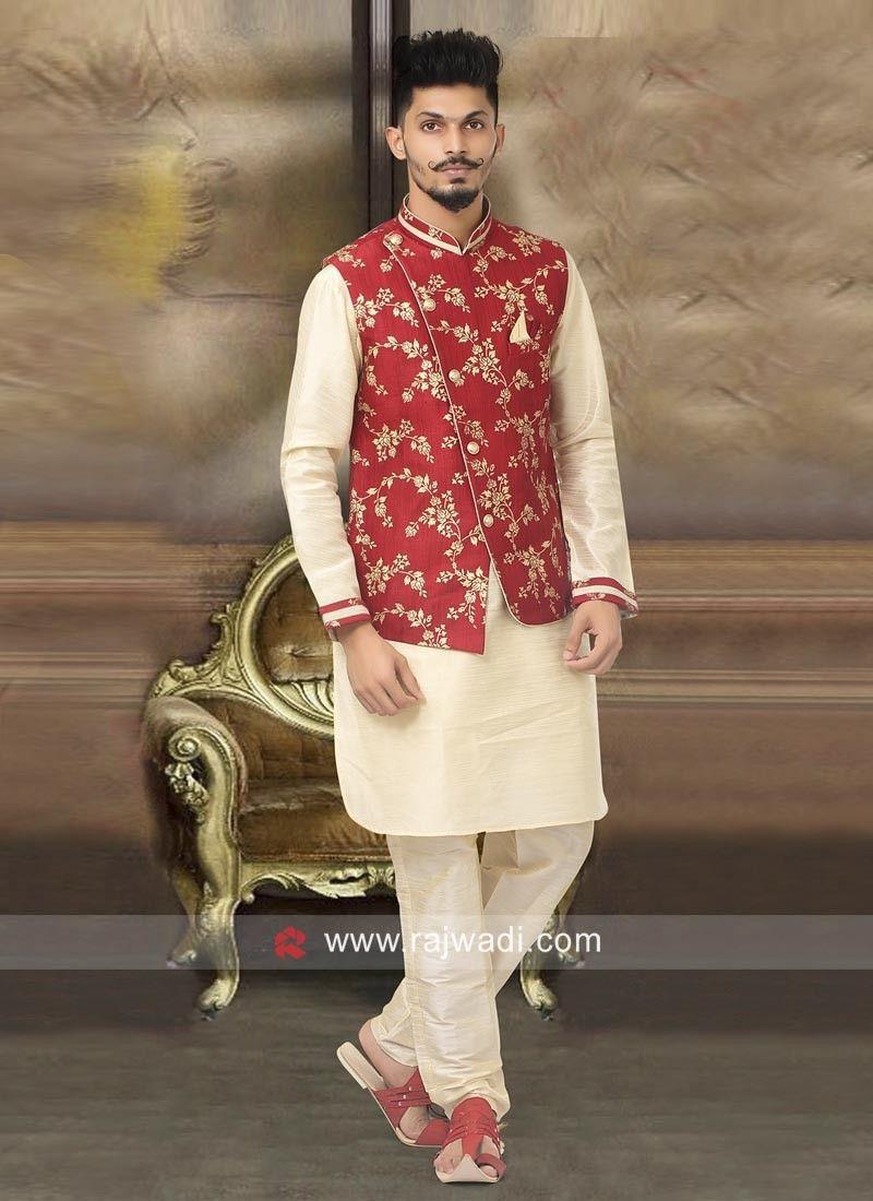 Indian Sherwani for Men Beige Designer with Dhoti Marriage wedding wear Ethnic Phoshak Traditional Designer Elegant wear jacket
