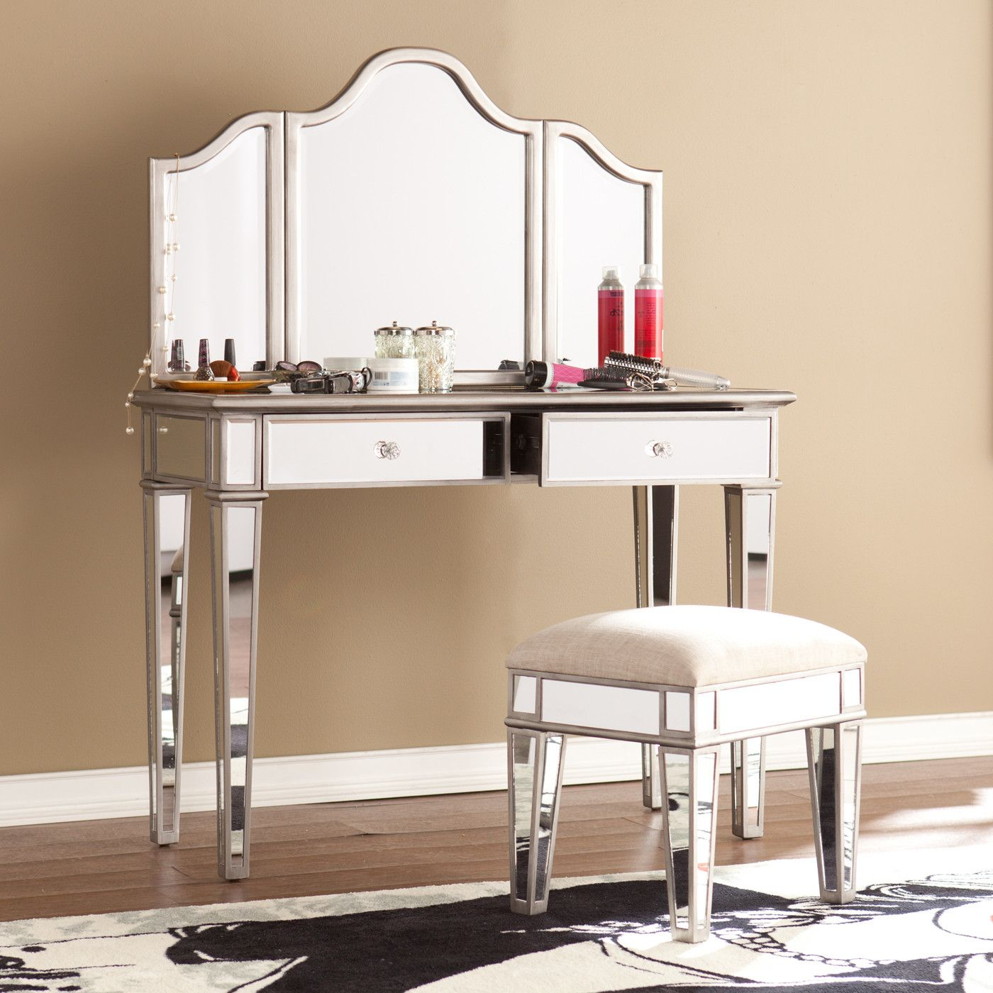House of Hampton 2-Piece Kaila Mirrored Vanity & Stool Set ...