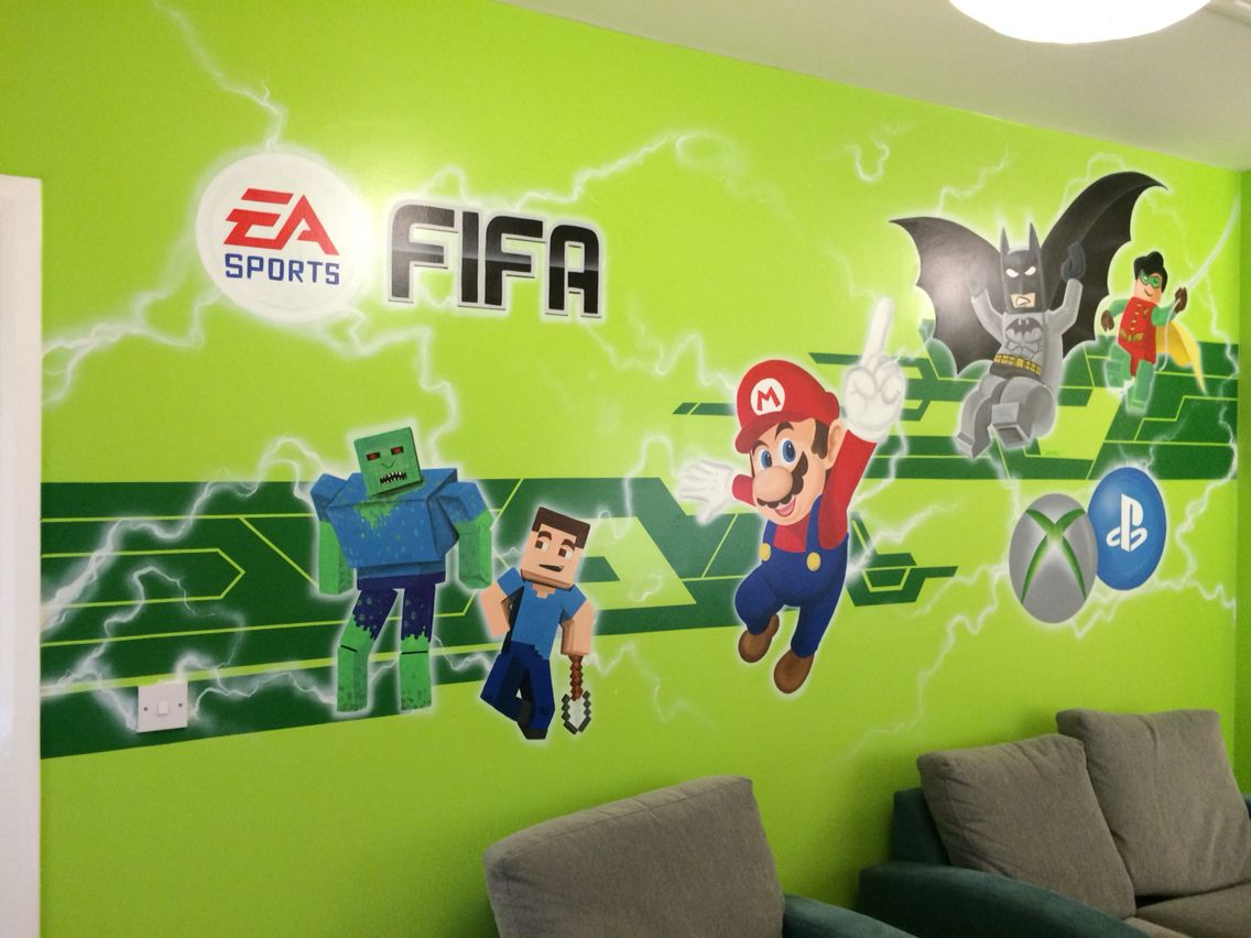 Your walls are the place to start when it comes to creating a mood for your gaming room. Games room mural | Kids wall murals, Wall murals painted ...