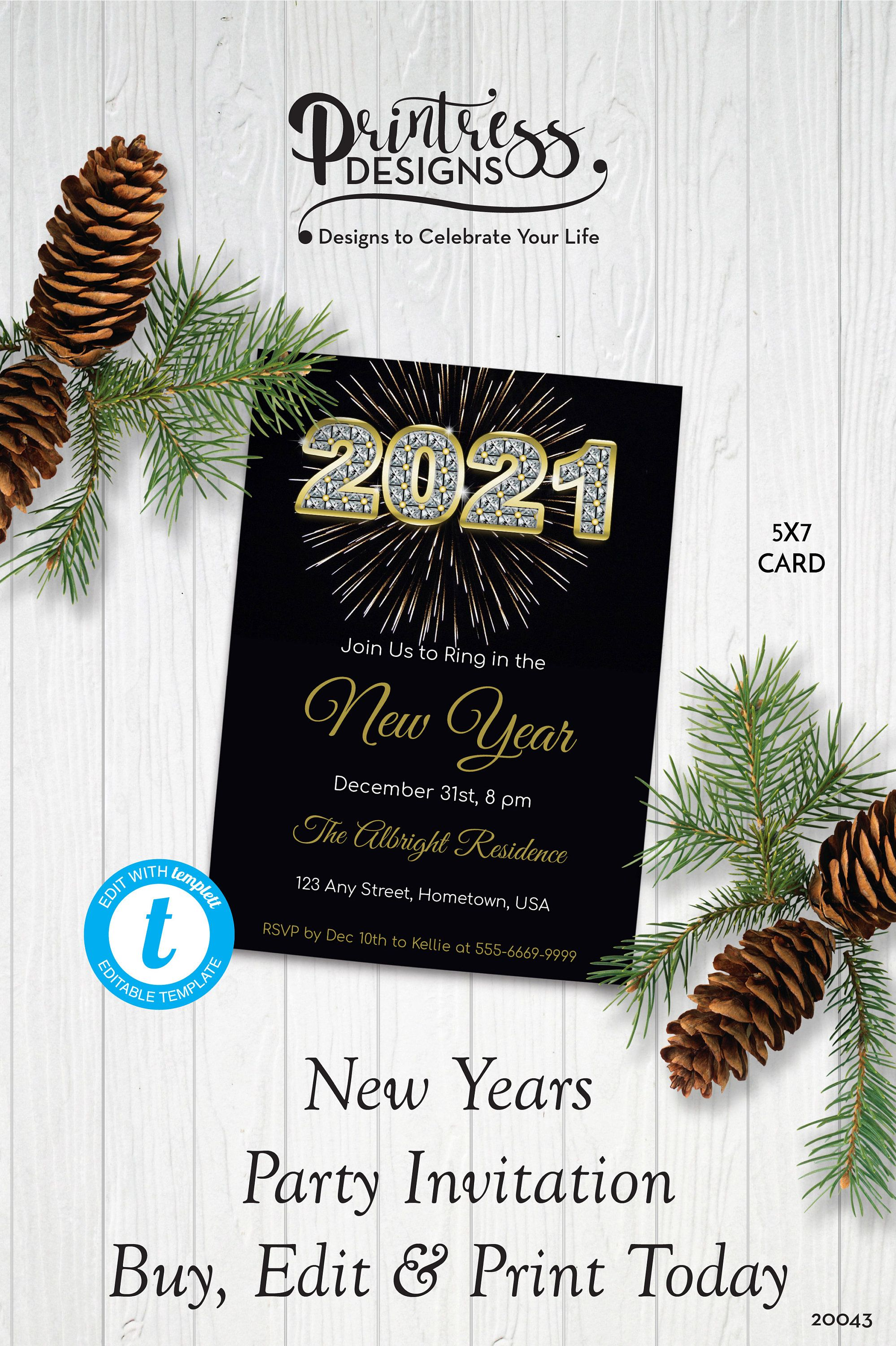 Diamond Bling New Year S Party Invitation New Year S Etsy New Years Party Party Invitations Invitations