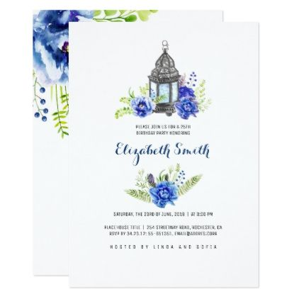 Blue Flowers Lantern Watercolor Birthday Party Card  Light Gifts