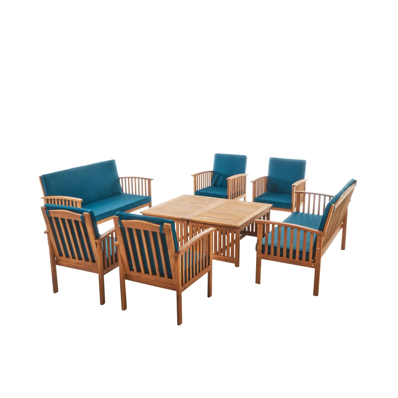 Enjoyable Outdoor Best Selling Home Carolina Acacia Wood 8 Piece Patio Caraccident5 Cool Chair Designs And Ideas Caraccident5Info