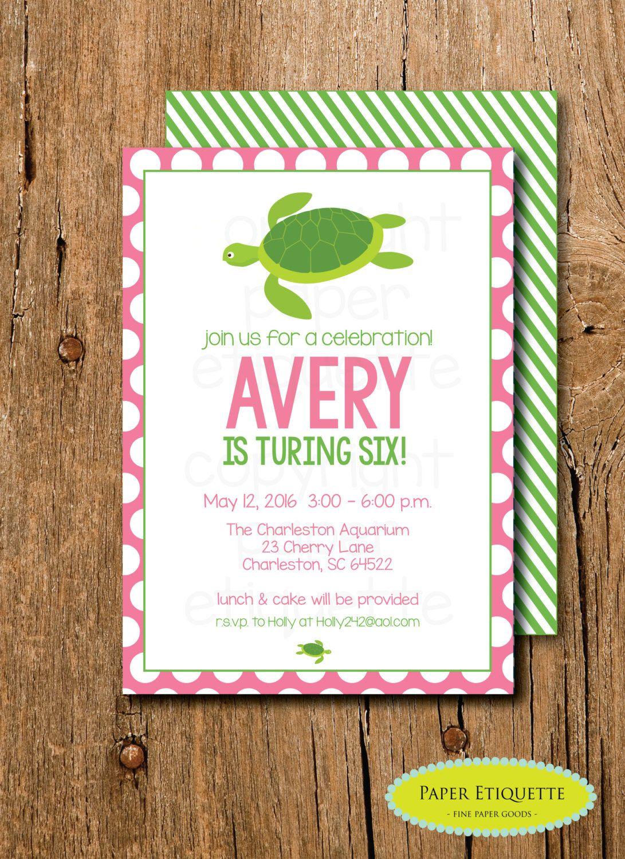 Turtle Party Birthday Invitation - Pink Preppy Turtle Baby Shower ...