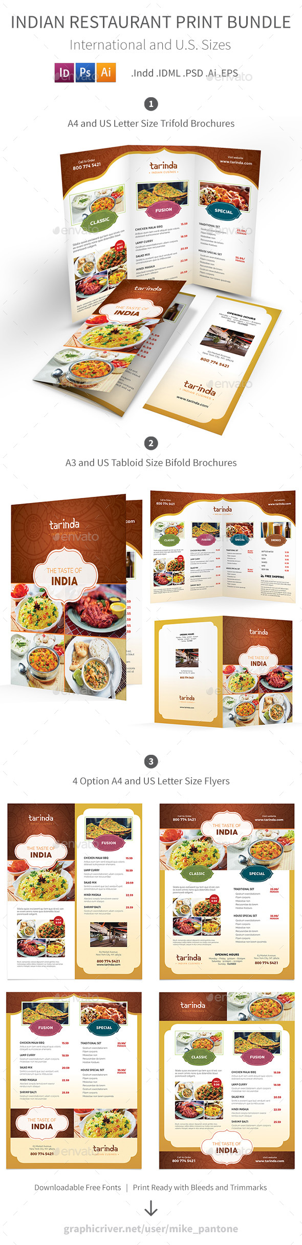 Indian Restaurant Menu Print Bundle