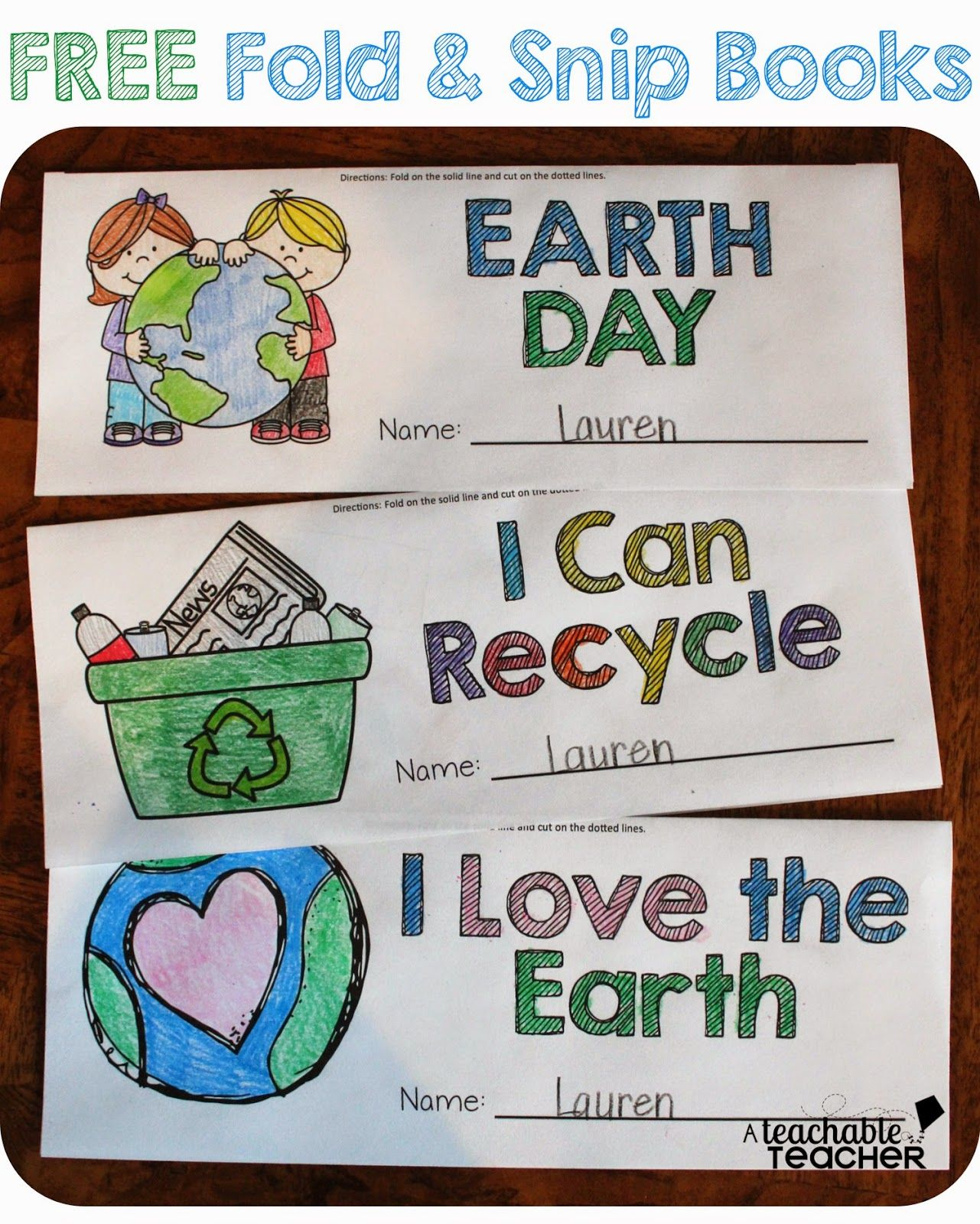 Free Earth Day Fold Amp Snip Graphic Organizers For K 2