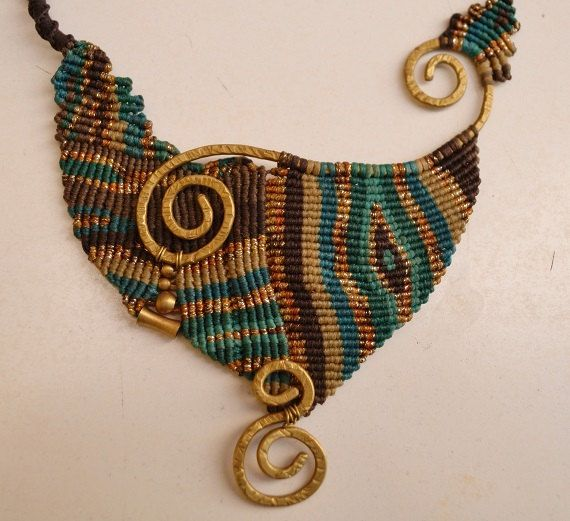 Macrame Necklace  Bronze Necklace  Handcrafted by TheaCosmo