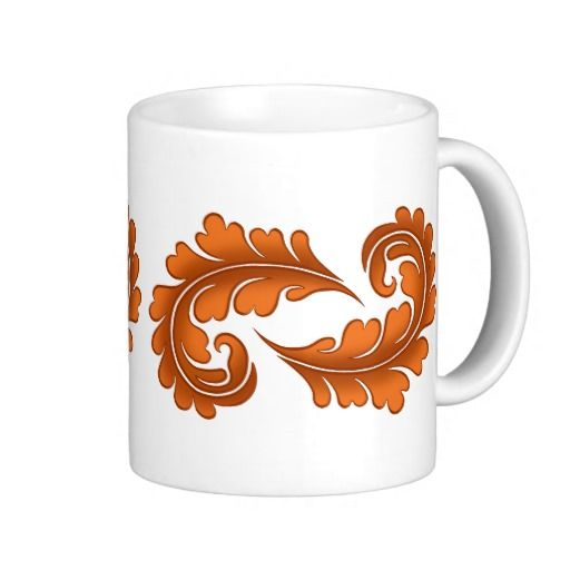 Autumn elegance victorian damask leaves coffee mug. Lovely warm colors that are perfect for Fall. #coffee_mug #autumn_leaves #autumn #fall