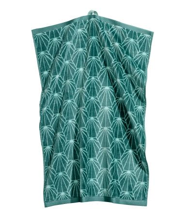 Teal Green Hand Towel In Cotton With Jacquard Patterned