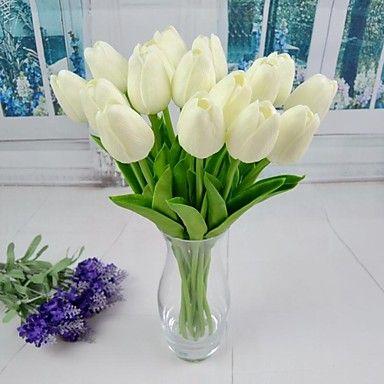 6 Rama Plástico PU Tulipán Flor de Mesa Flores Artificiales