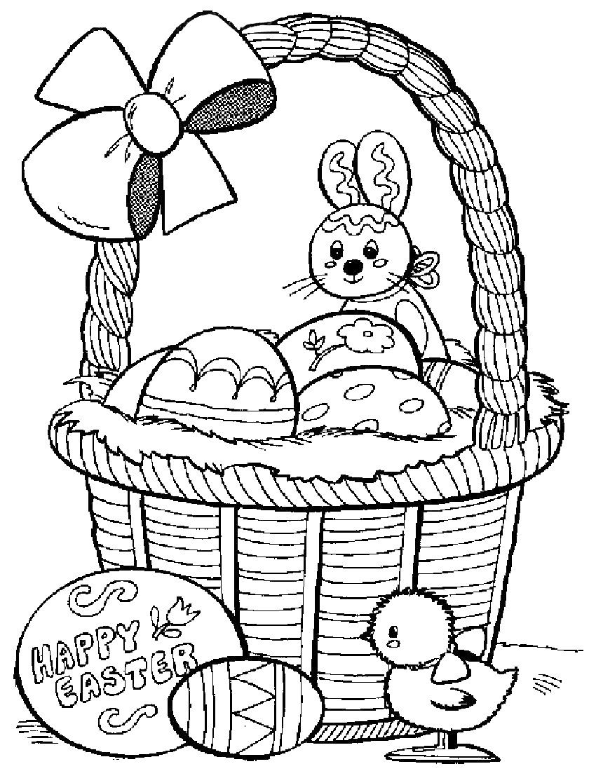 Happy Easter Eggs and Bunny Basket to Color | Katie\'s board ...