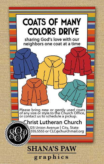 Use this colorful ShanasPaw Coat Drive flyer design to get the