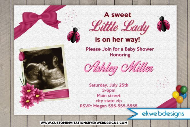 Little Lady Baby Shower Invitations   Lady Bug Custom Baby Shower Invitation  With Or Without Sonogram